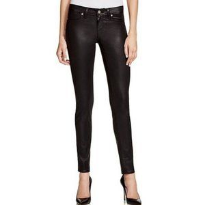 Paige Pandora Black Coated Peg Skinny Jeans